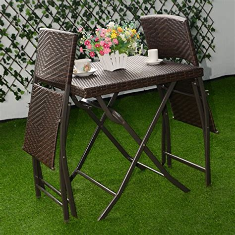 Folding Bistro Table And 2 Chairs Patio Bistro Outdoor Folding Table And 2 Chairs Furniture Set Rattan Wicker Brown Color Buy