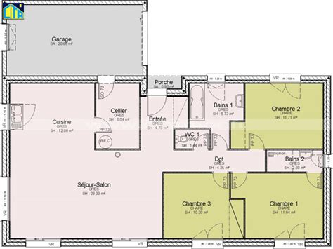 plan de maison 3 chambres plain pied ordinaire plan maison etage 4 chambres gratuit 13