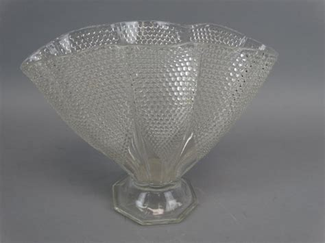 Clear Glass L by L E Smith Clear Glass Hobnail Pillow Fan Vase