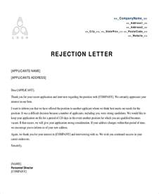 Rejection Letter Sle To Employer Rejection Letter Template 28 Images Rejection Letter Templates Pdf Files Get Oxford