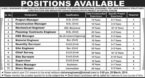 store management environmental mechanical civil engineering in punjab 2014 march for