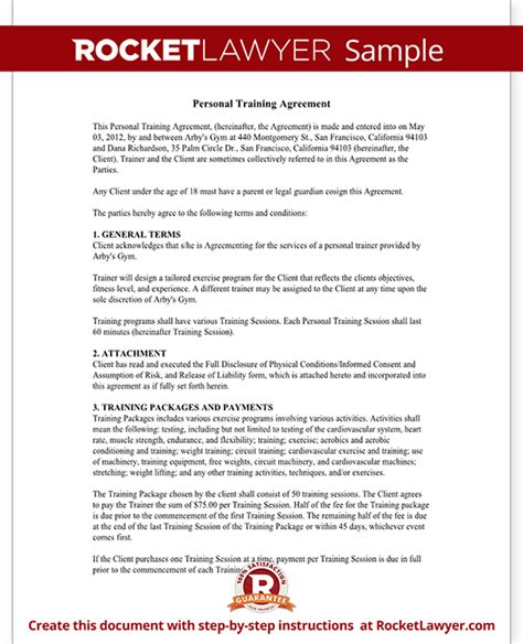 Personal Trainer Forms Personal Training Contract Agreement Template Personal Agreement Contract Template