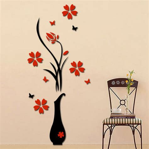 heart home decor 3d removable romantic flowers heart wall sticker home room