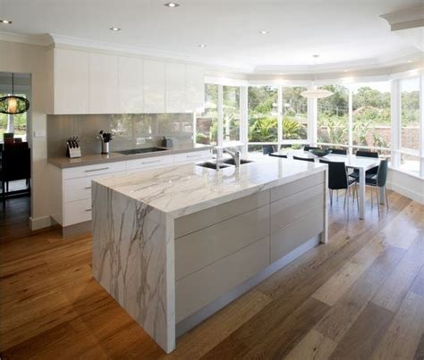 marble benchtop thick profile kitchen