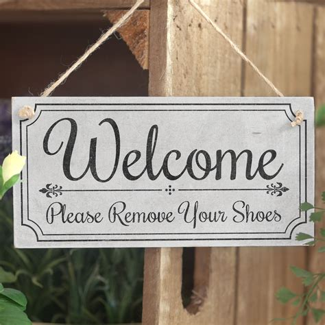 Handmade Door Signs - welcome remove your shoes welcome sign