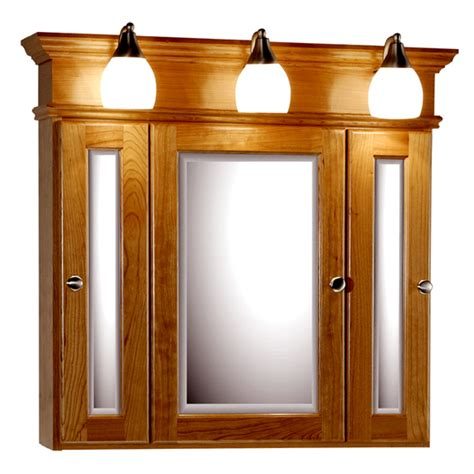 medicine cabinet lights strasser woodenworks 30 inch rounded profile tri view