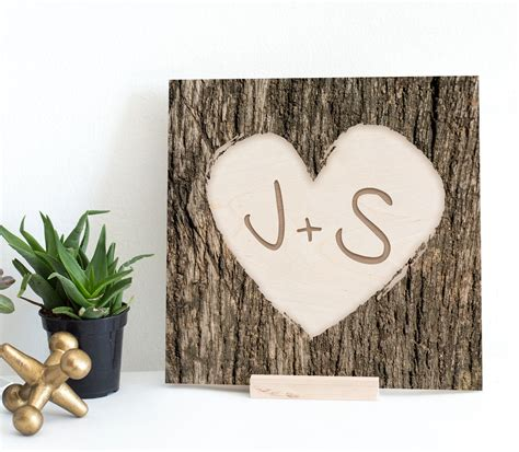 engraved initials in heart frame tree bark wood print unique