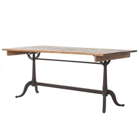 Wood Iron Dining Table Rustic Reclaimed Wood Iron Dining Table Kathy Kuo Home