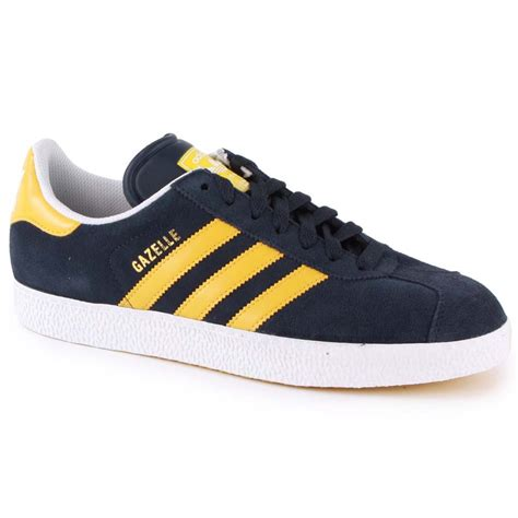 adidas gazelle 2 mens trainers in navy yellow