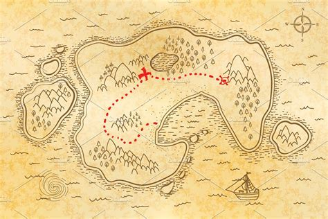 How To Make Treasure Map Paper - ancient pirate map on paper illustrations creative