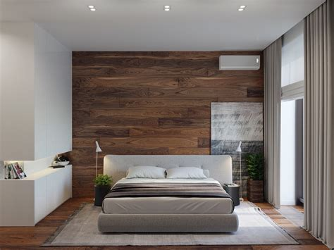 Rustic Beauty in an Inner-City Apartment Wood Wallpaper Bedroom
