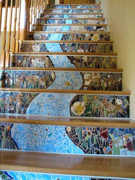 mosaic decorations for the home 20 diy wallpapered stair risers ideas to give stairs some flair architecture design