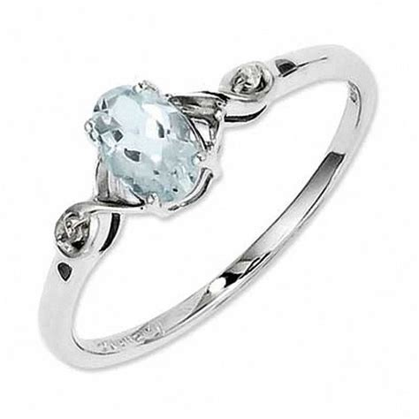 oval aquamarine and accent promise ring in
