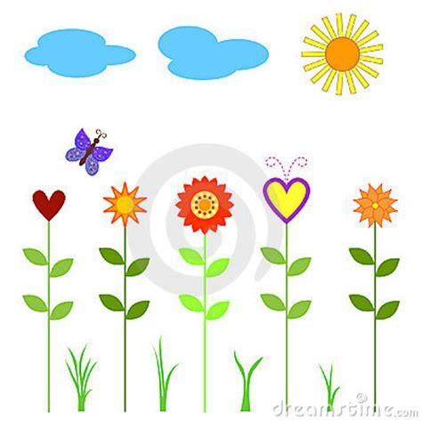 bloemen en wolken bloemen vlinder wolken en zon stock fotografie