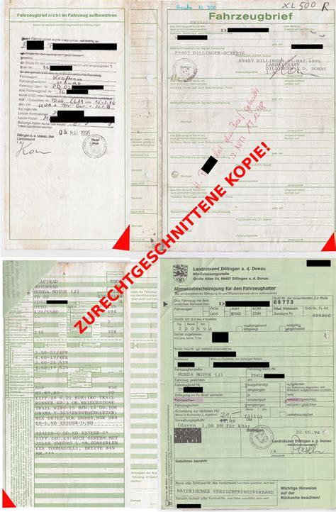 Kba Anfrage Brief Verloren Das Xl500 Forum Thema Anzeigen Papiere Fahrzeugbrief