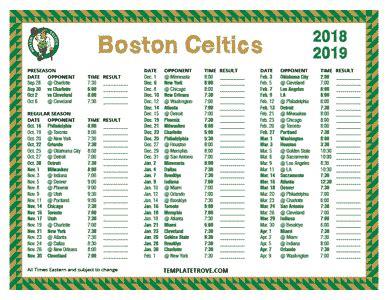 Celtics Schedule Printable