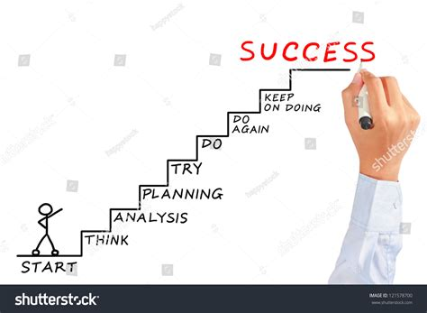 man drawing success meaning  white stock photo