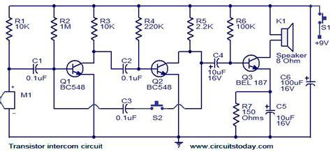 transistor intercom circuit electronic circuits and