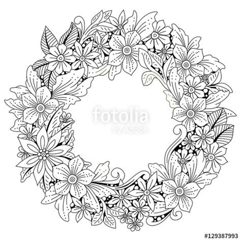 flower wreath coloring page quot wreath of flowers and leaves floral frame doodle art