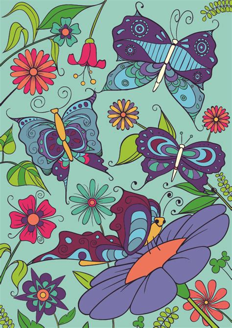 how to draw a garden with flowers learn how to draw a butterfly on a flower step by step