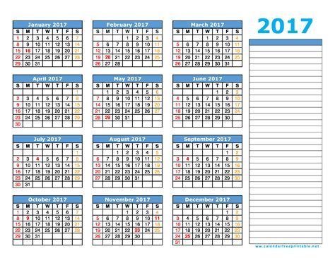 Printable Yearly Calendar 2017 With Holidays 2017 Calendar Printable With Holidays Calendar Free