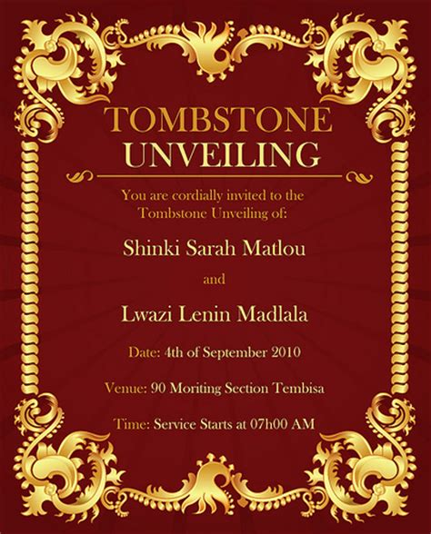 Tomstone Card Template by Tombstone Unveiling Flickr Photo