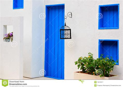 blue house with a blue window modern house with colorful blue door and window stock image image 13672017