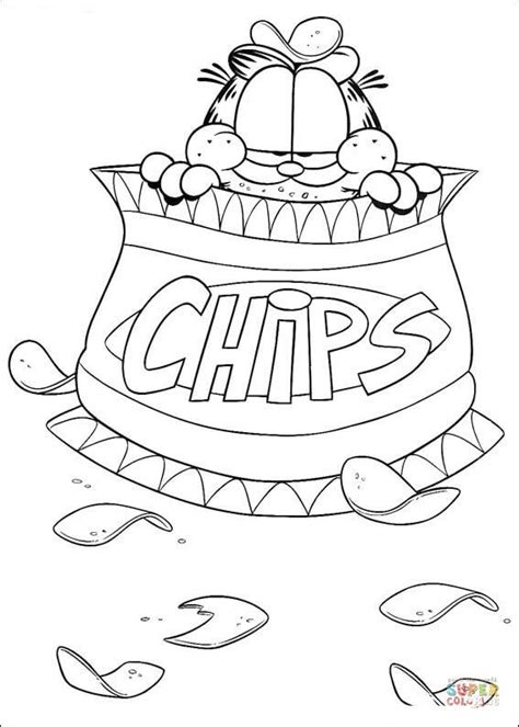 Garfield Story Sketch Paper Kertas Sketsa chips garfield coloring page free printable coloring pages