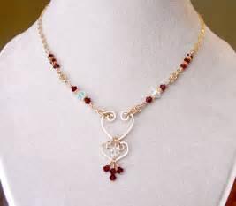 Garnet Chandelier Earrings Swarovski Crystal Birthstone Necklace Mothers Necklaces