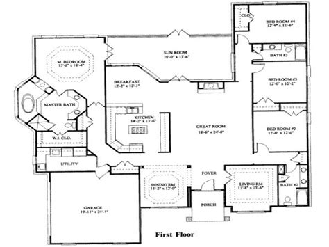 4 bedroom house house floor plans and floor plans on 4 bedroom ranch house plans 4 bedroom house plans modern