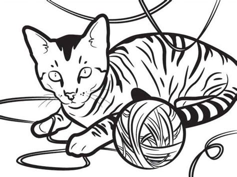 kitten yarn coloring page kitty cat an egyptian kitty cat playing with a yarn