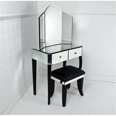 Mirrored Makeup Vanity Table Ivory Stained Wooden Mirror Vanity Dressing Table And Ivory Wooden Stool With White Leather Seat