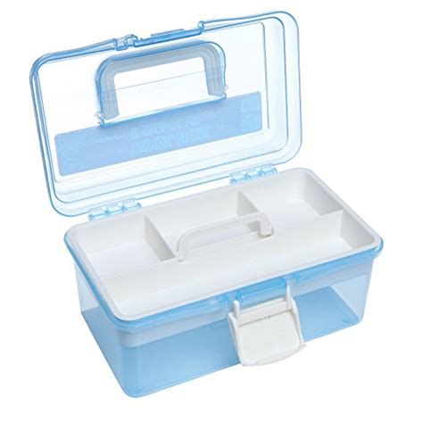 ott lite portable craft caddy l 10 quot clear light blue plastic multipurpose portable handled