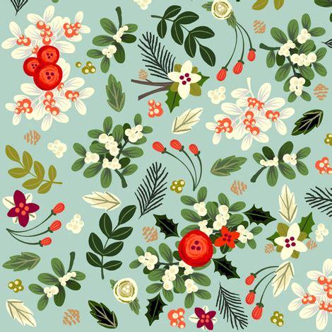wallpaper christmas material vintage ditsy mistletoe fabric ginamayes spoonflower