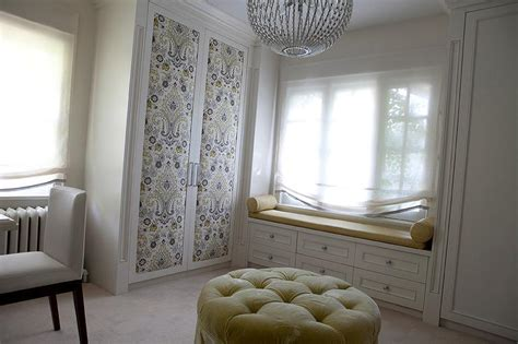 Padded Bench Seats Fabric Paneled Wardrobe Doors Design Ideas