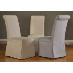 Parson Chair Slipcovers Domusindo Slipcovered Roll Back Dining Chair Set Of 2