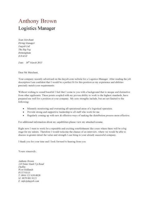 Transportation Executive Cover Letter by Cover Letter For Logistics Manager Cover Letter Templates