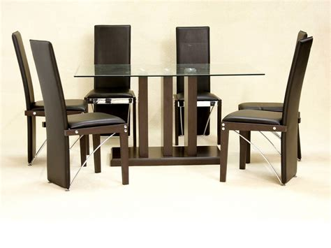 Clear Glass Dining Table And 6 Chairs Large Homegenies Clear Glass Dining Table And 6 Chairs