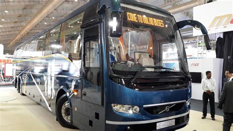 volvo buses unveil  bs iv range  indian market
