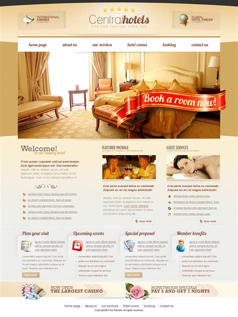 how to create a stylish hotel website psd to html central hotels psd website template at downloadfreepsd com