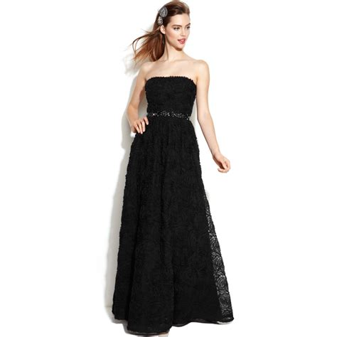 black beaded gown papell strapless beaded gown in black lyst