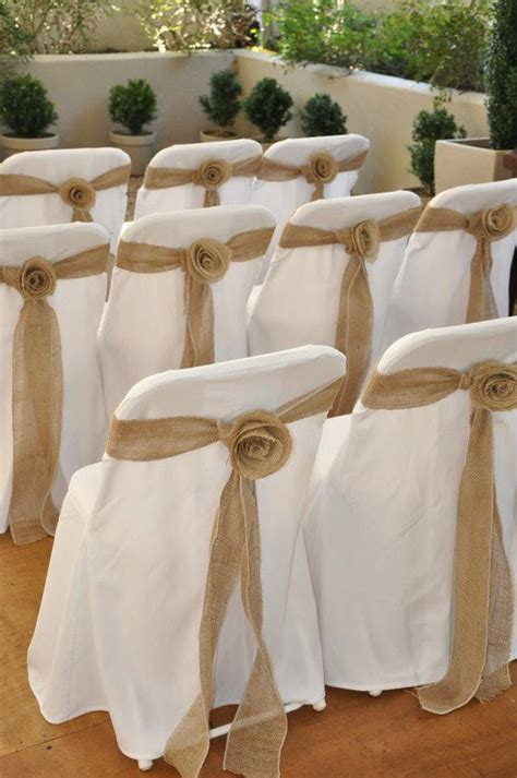 items similar  burlap rosette wedding chair sashes  covered chairs   etsy