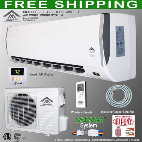 ac unit for room best buy amvent 12000 btu 1 ton ductless wall mount mini split room air conditioner ac