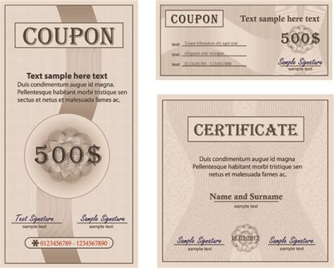 coupon with certificate templates vector free vector in
