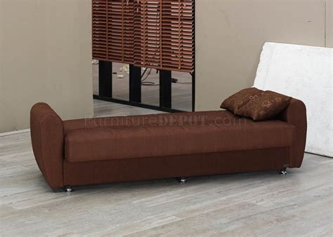 Brown Fabric Modern Convertible Sofa Bed W Storage Space Sofa Beds With Storage Space