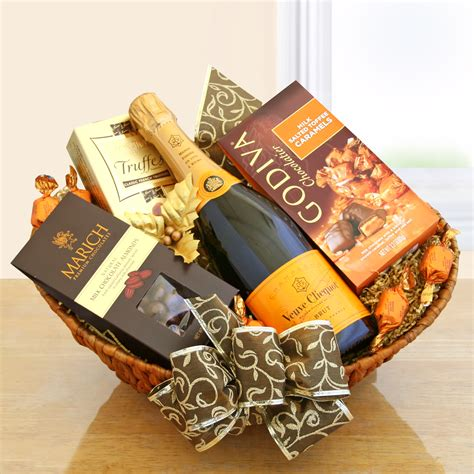gift packages classic chagne gift basket veuve clicquot wine