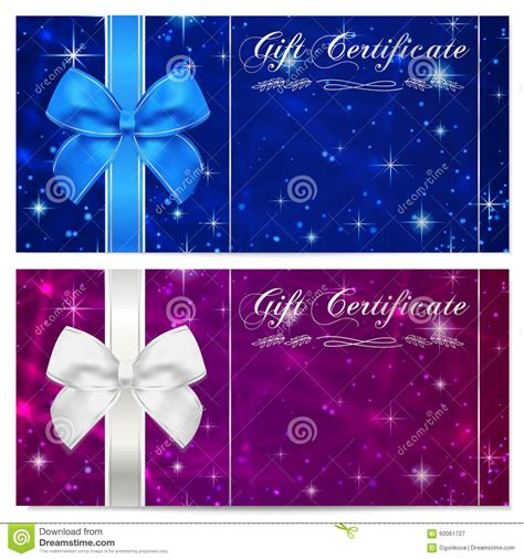 Gift Certificate Voucher Coupon Reward Or Gift Card Template With Sparkling Twinkling Stars Card Template Blue