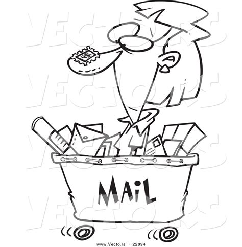 Vector of a Cartoon Woman in a Mail Cart   Outlined