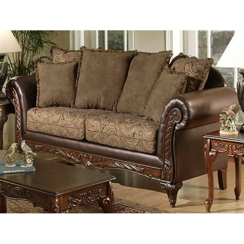 Serta Ronalynn Traditional Sofa With Carved Wood Trim Sofas With Wood Trim