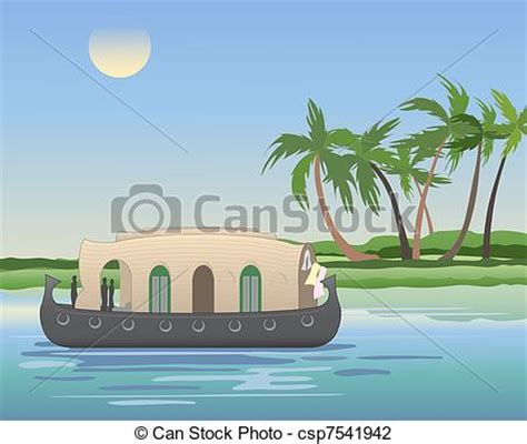 kerala boat icon vector illustration of kerala backwaters an illustration